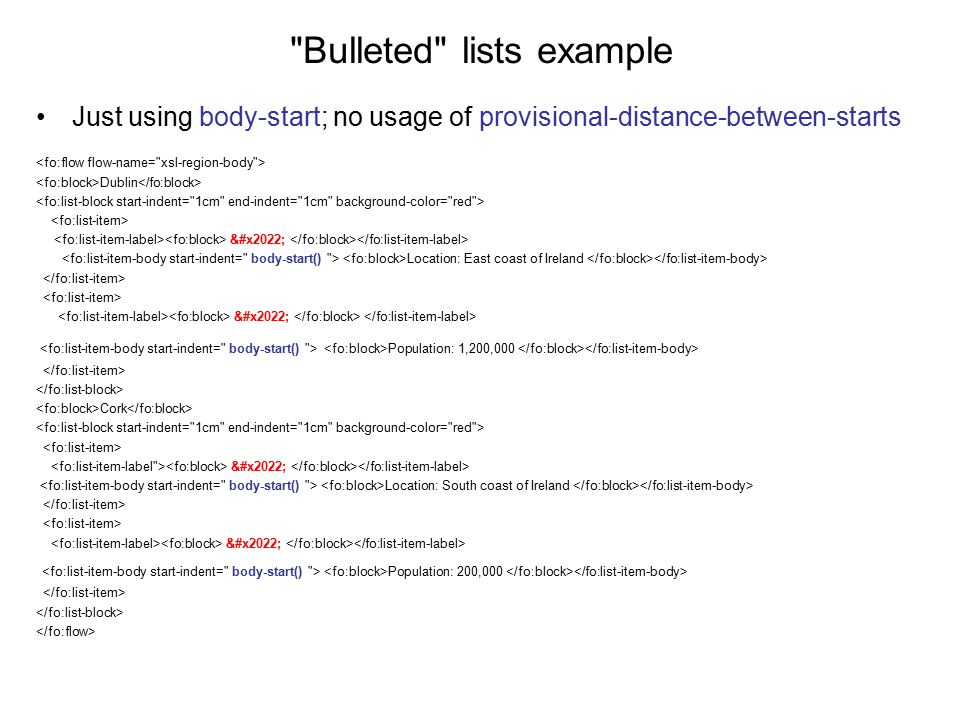 Bulleted lists example