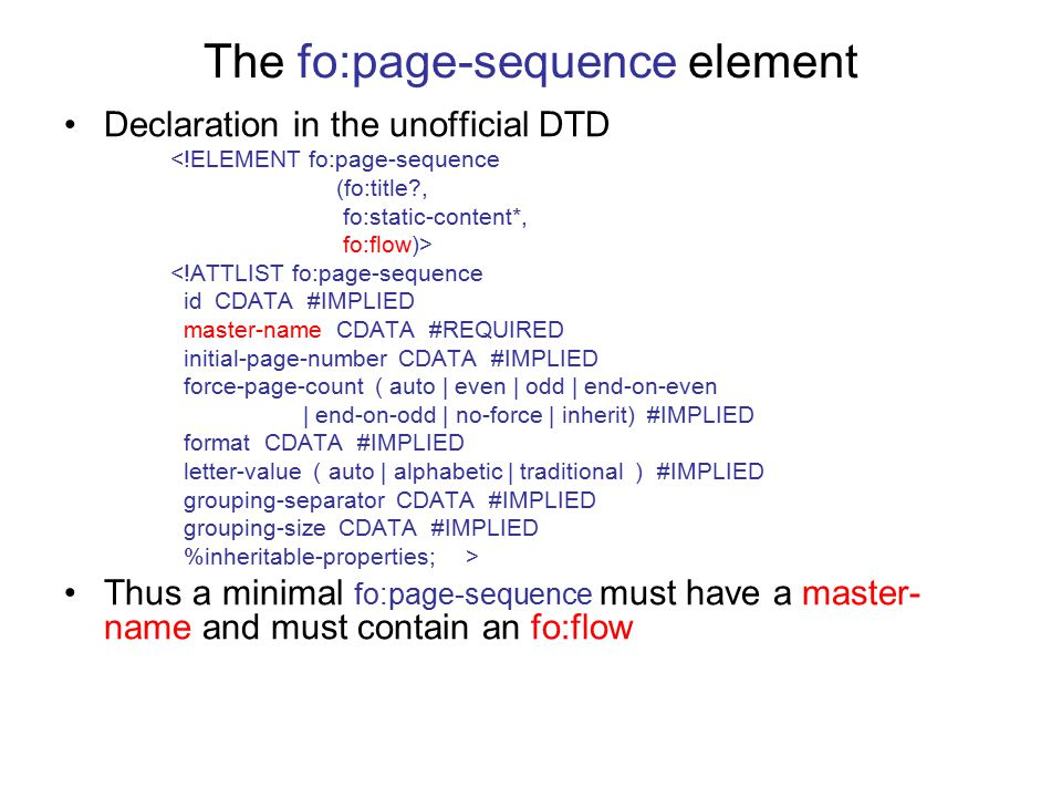 The fo:page-sequence element