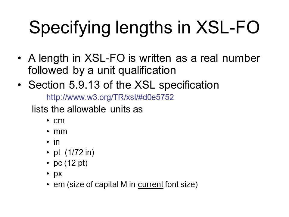 Specifying lengths in XSL-FO