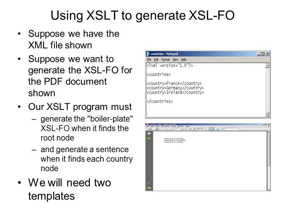 Using XSLT to generate XSL-FO