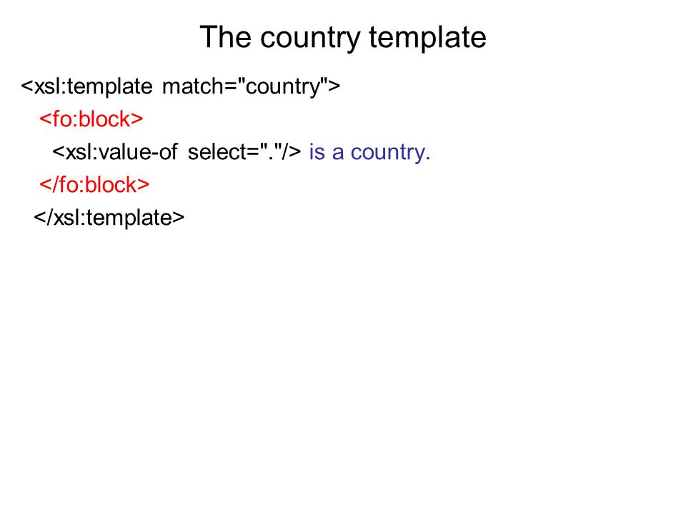 The country template <xsl:template match= country >