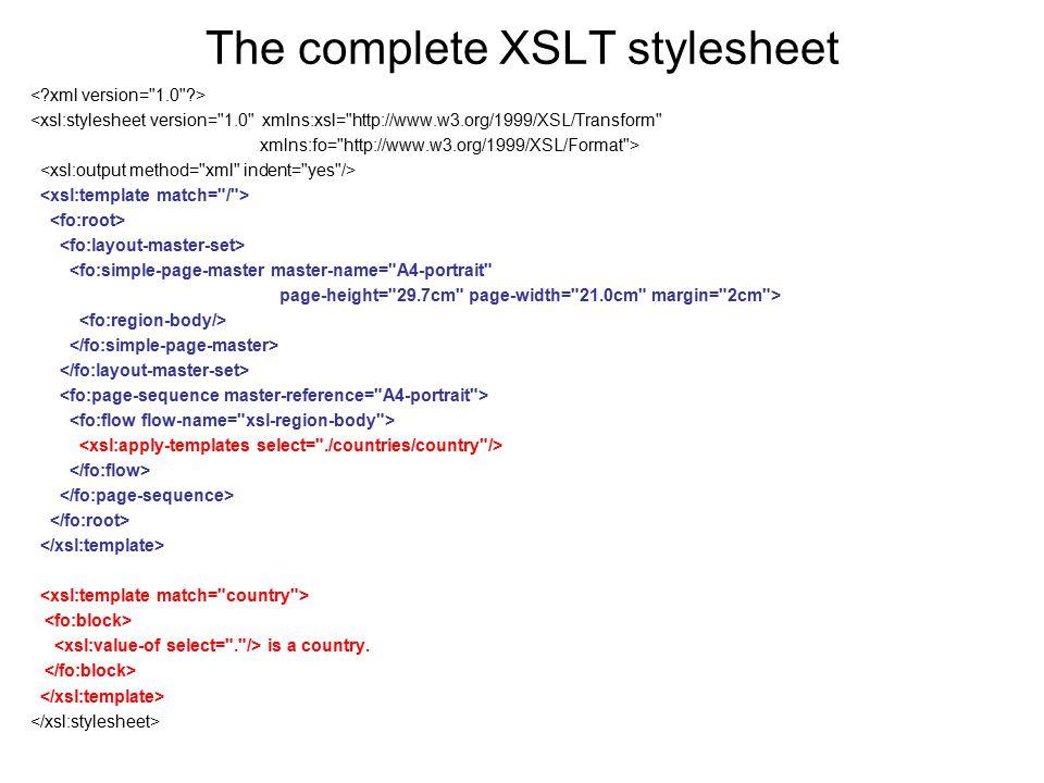 The complete XSLT stylesheet