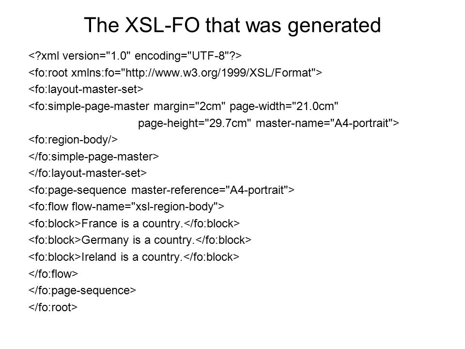 The XSL-FO that was generated