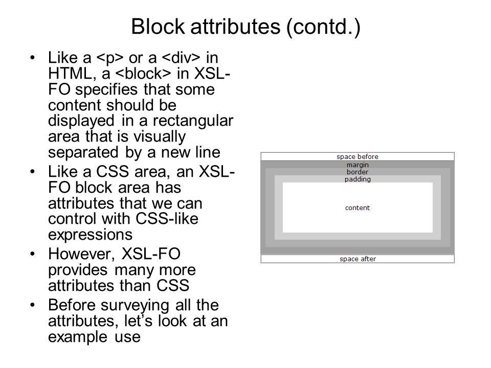 Block attributes (contd.)
