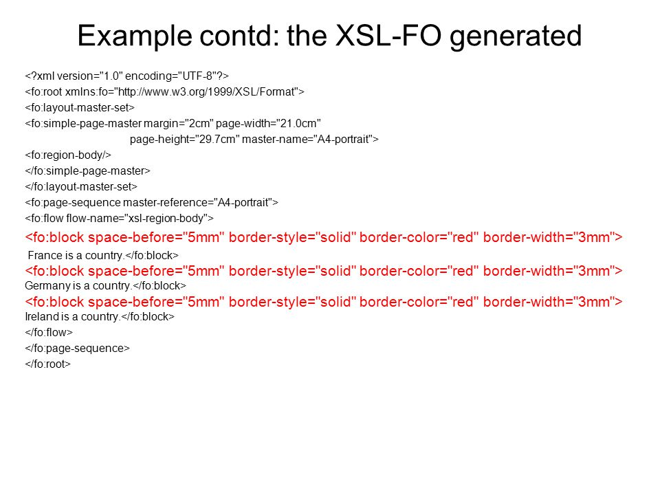 Example contd: the XSL-FO generated