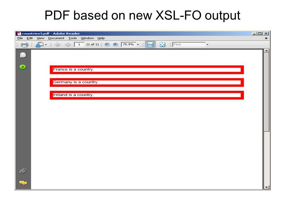 PDF based on new XSL-FO output