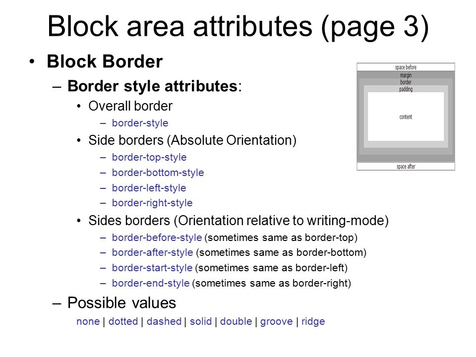 Block area attributes (page 3)