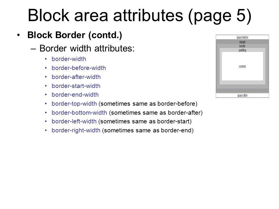 Block area attributes (page 5)