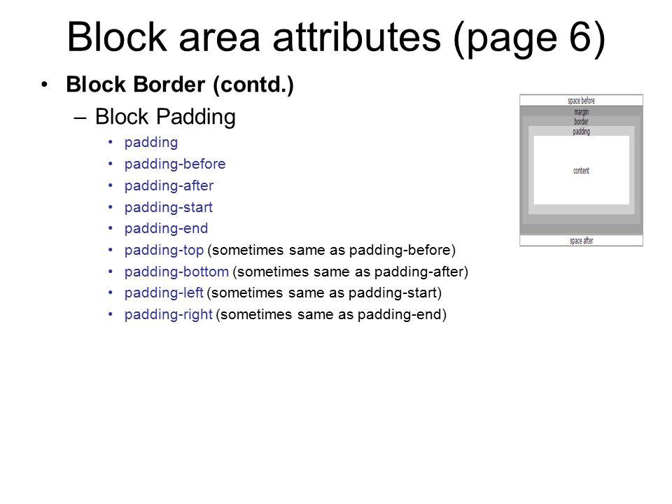 Block area attributes (page 6)