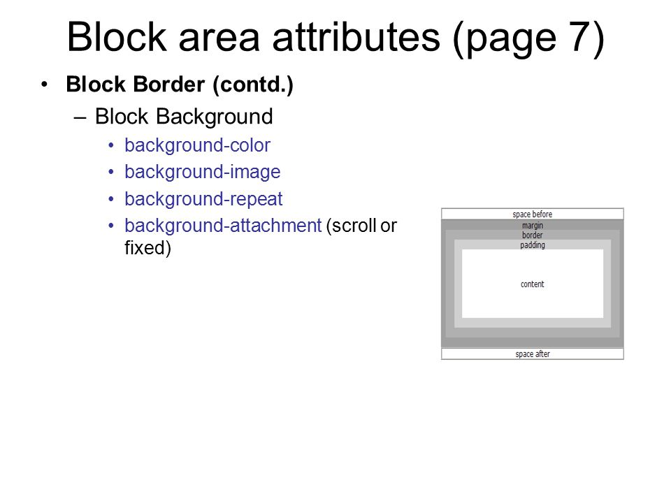Block area attributes (page 7)