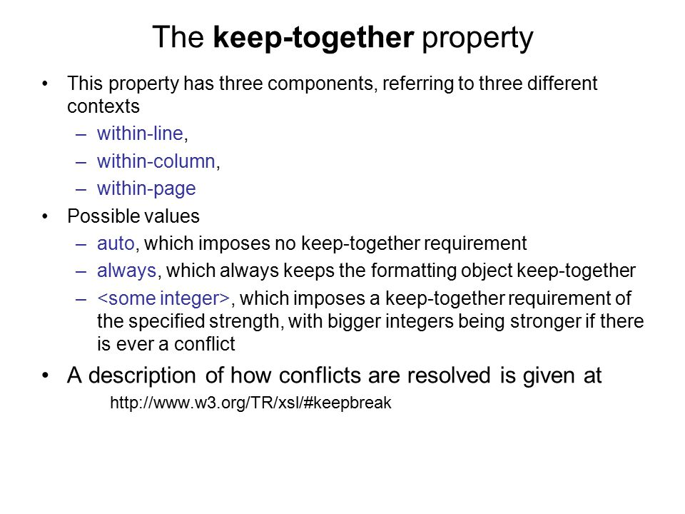 The keep-together property