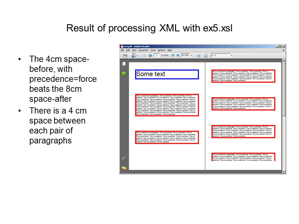 Result of processing XML with ex5.xsl