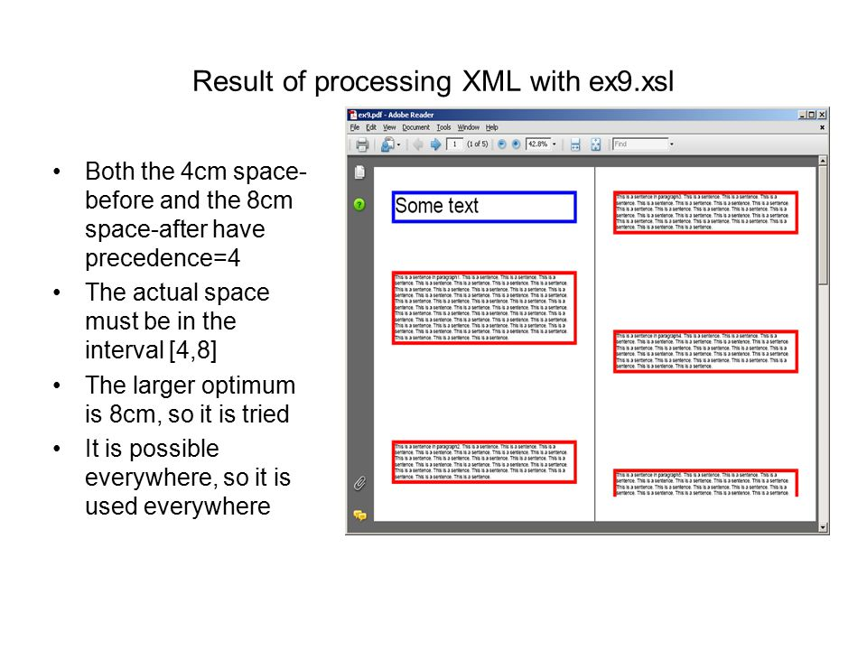Result of processing XML with ex9.xsl