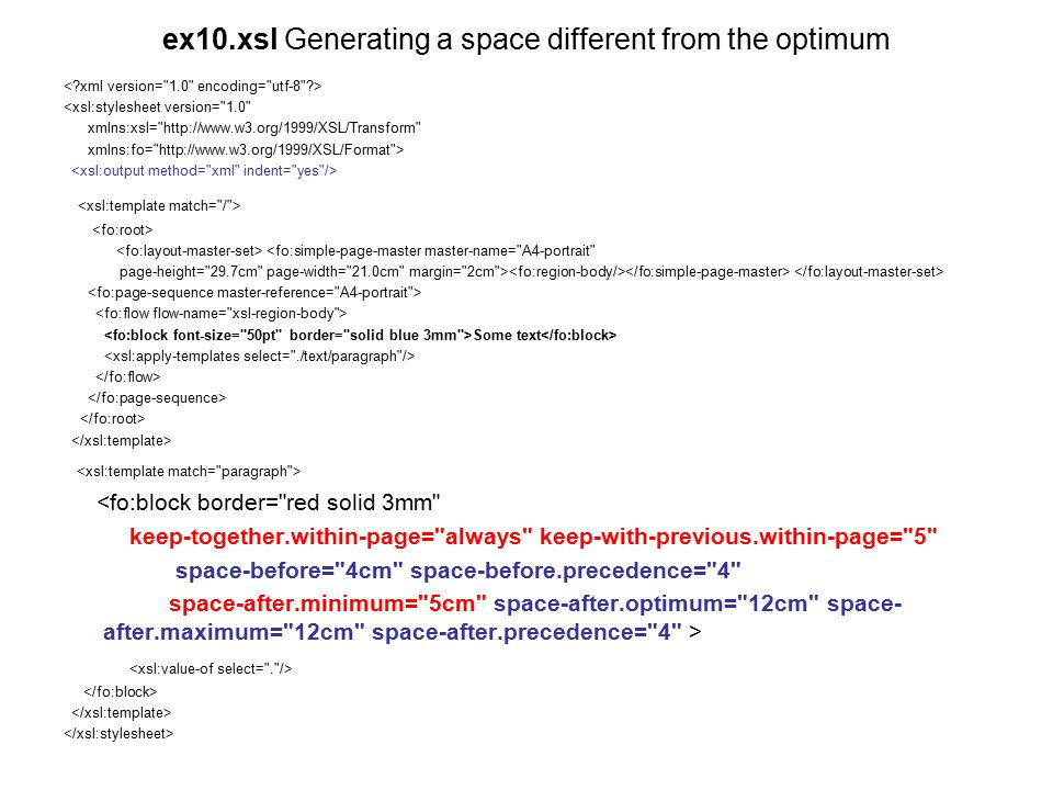 ex10.xsl Generating a space different from the optimum