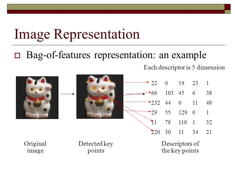 Image Representation Bag-of-features representation: an example