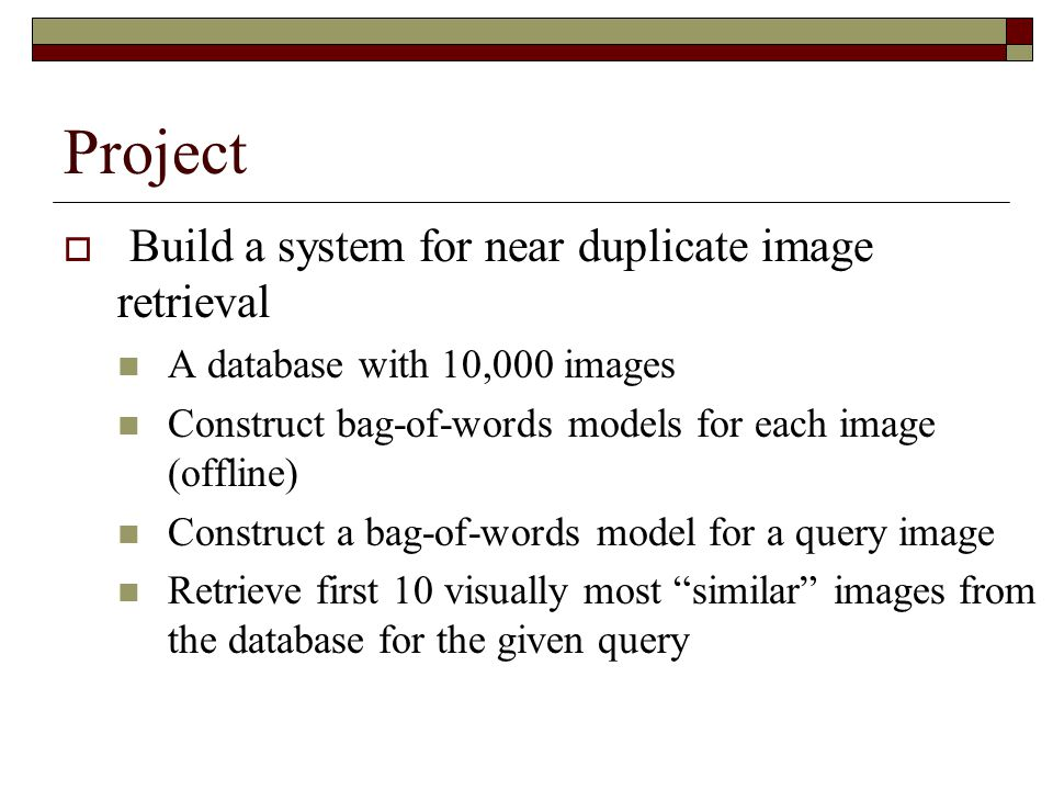 Project Build a system for near duplicate image retrieval