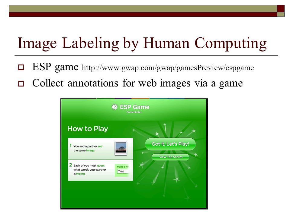 Image Labeling by Human Computing