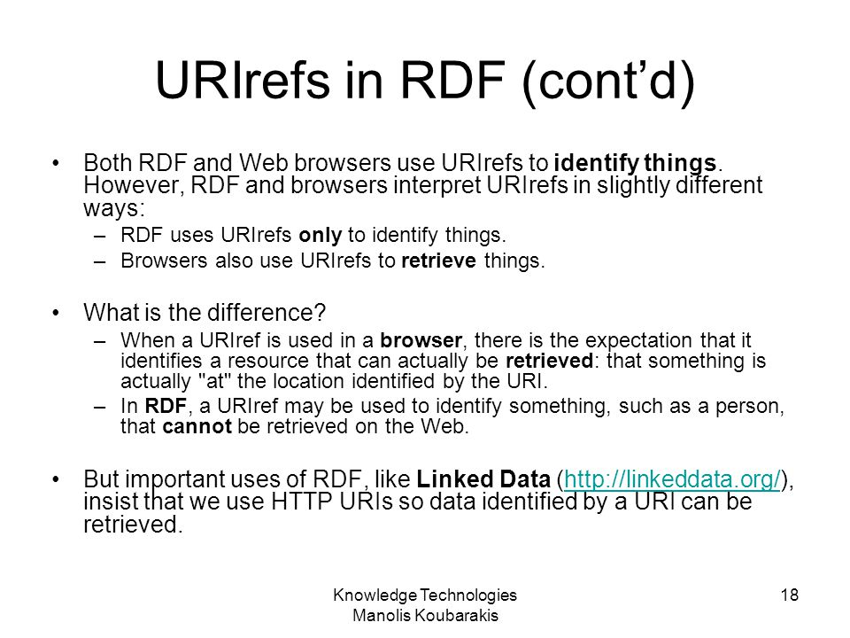 URIrefs in RDF (cont'd)