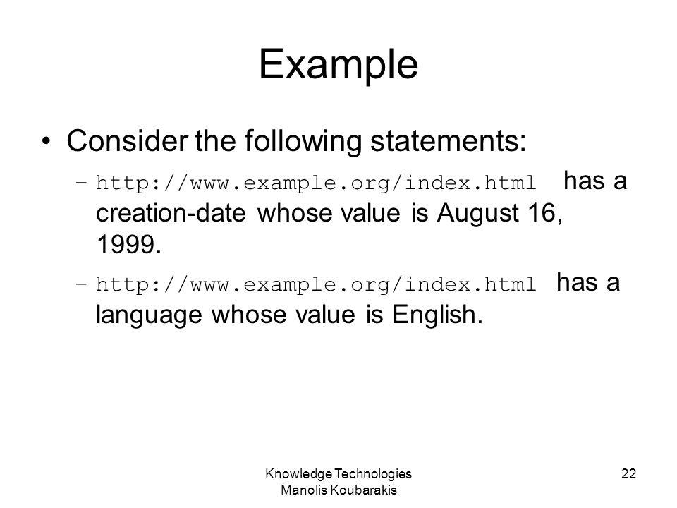 Knowledge Technologies Manolis Koubarakis