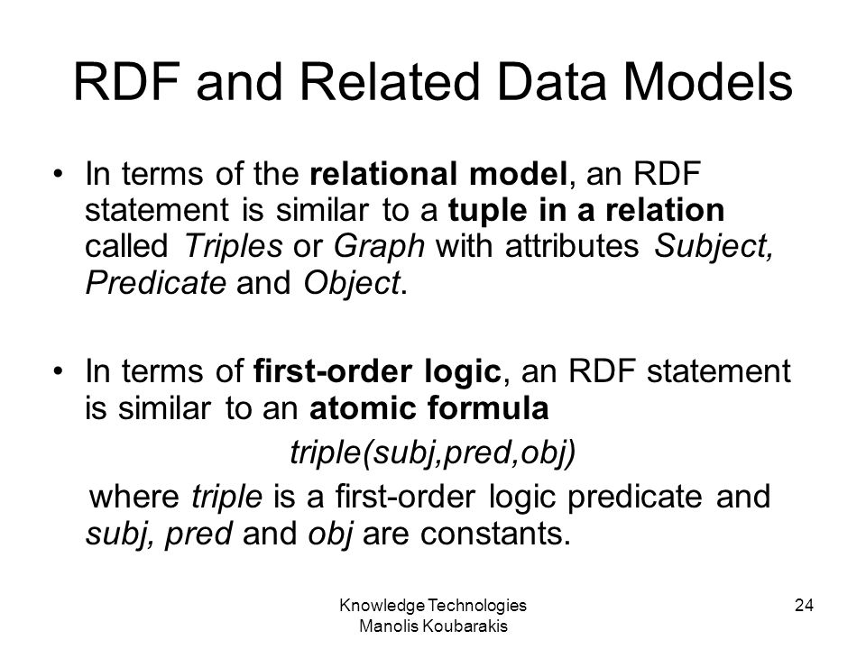 RDF and Related Data Models
