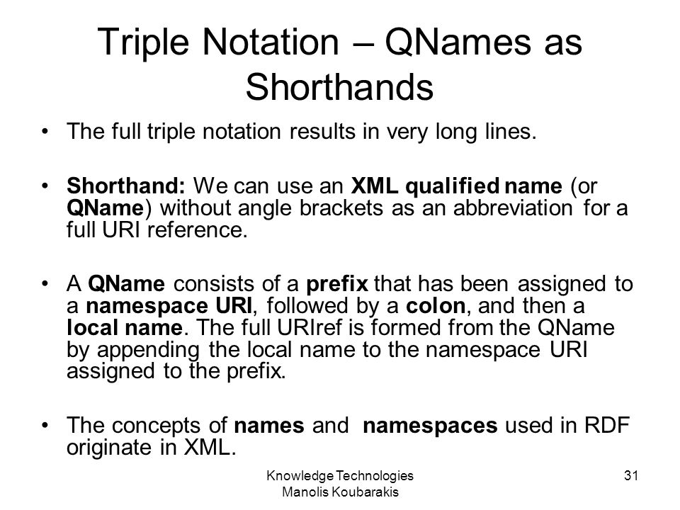 Triple Notation – QNames as Shorthands