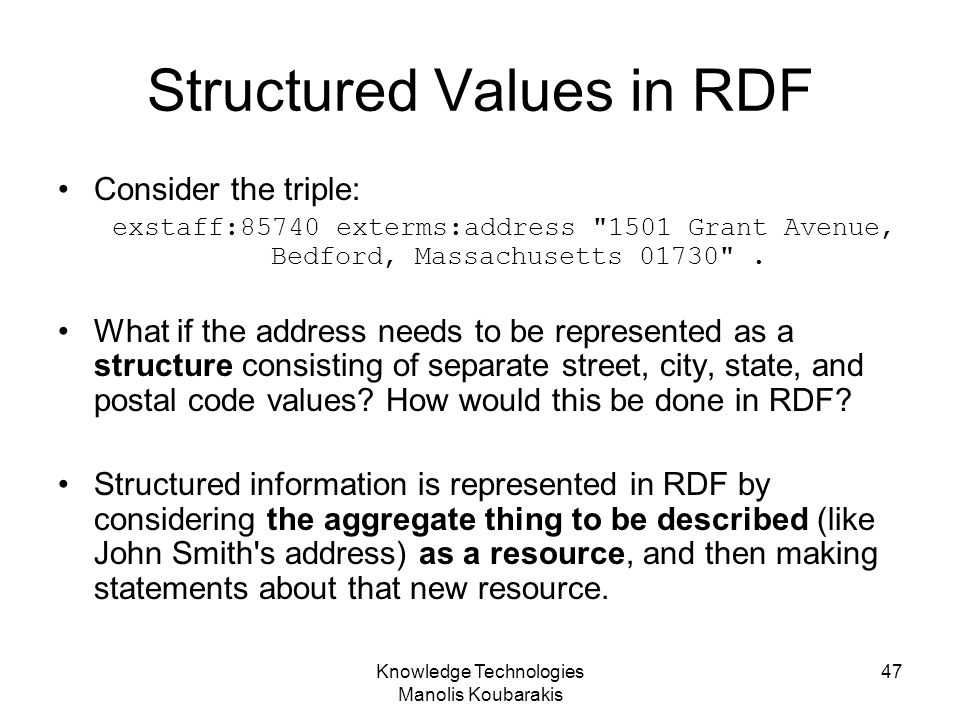 Structured Values in RDF