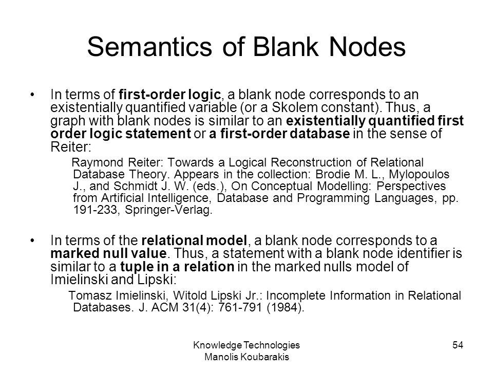 Semantics of Blank Nodes