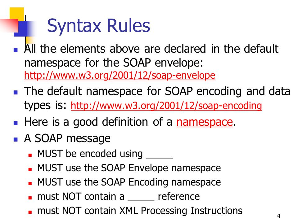 Syntax Rules All the elements above are declared in the default namespace for the SOAP envelope: http://www.w3.org/2001/12/soap-envelope.