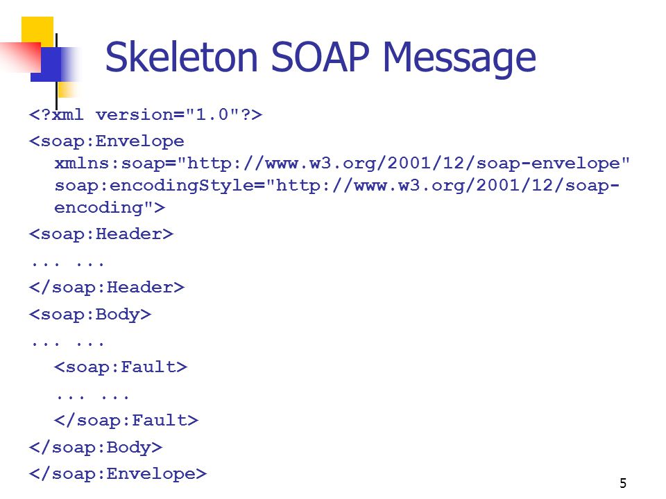 Skeleton SOAP Message < xml version= 1.0 >