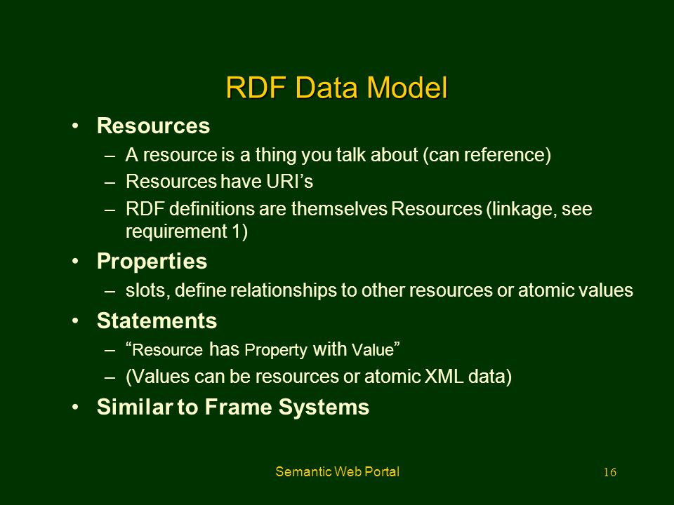 RDF Data Model Resources Properties Statements