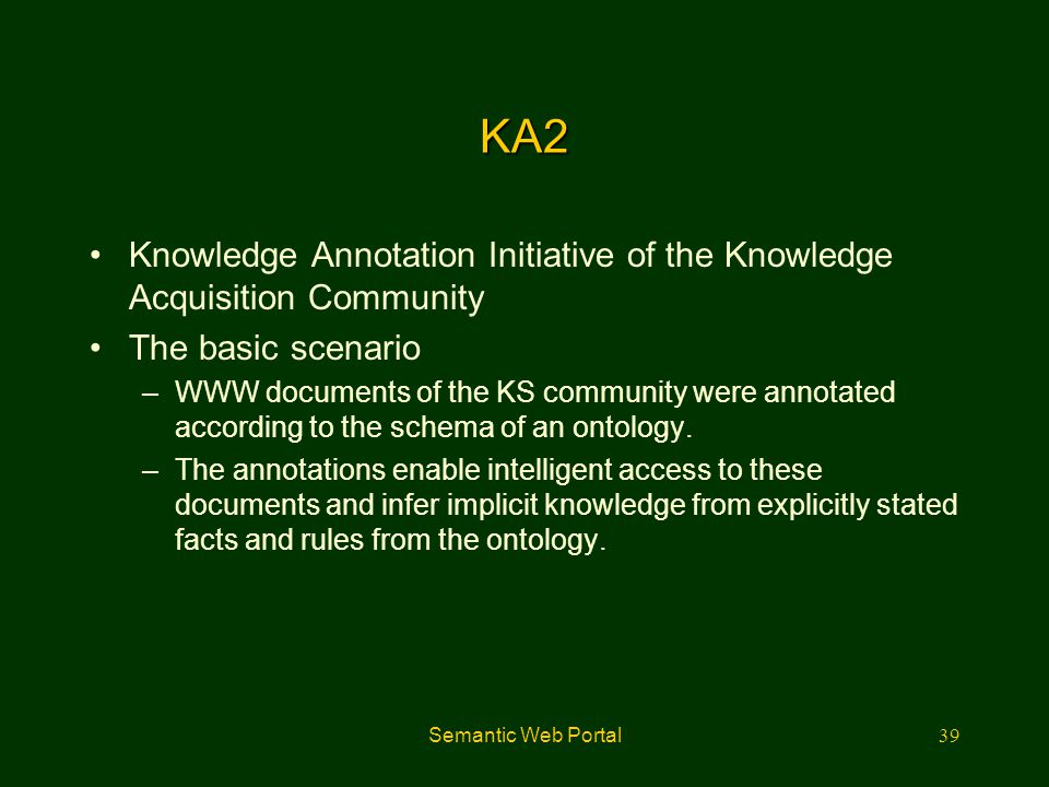 KA2 Knowledge Annotation Initiative of the Knowledge Acquisition Community. The basic scenario.