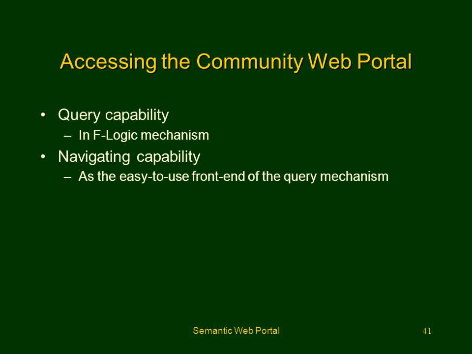 Accessing the Community Web Portal