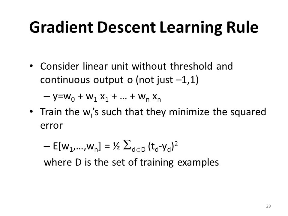Gradient Descent Learning Rule