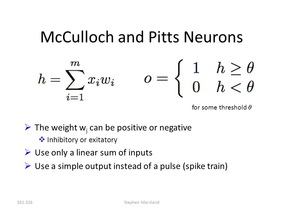 McCulloch and Pitts Neurons