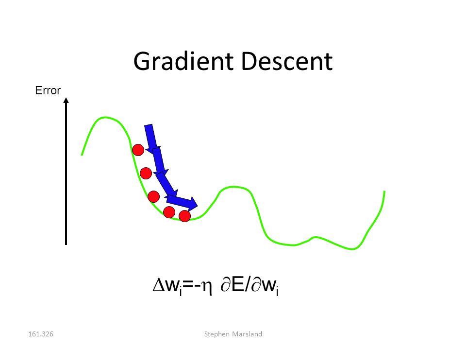 Gradient Descent Error wi=- E/wi 161.326 Stephen Marsland