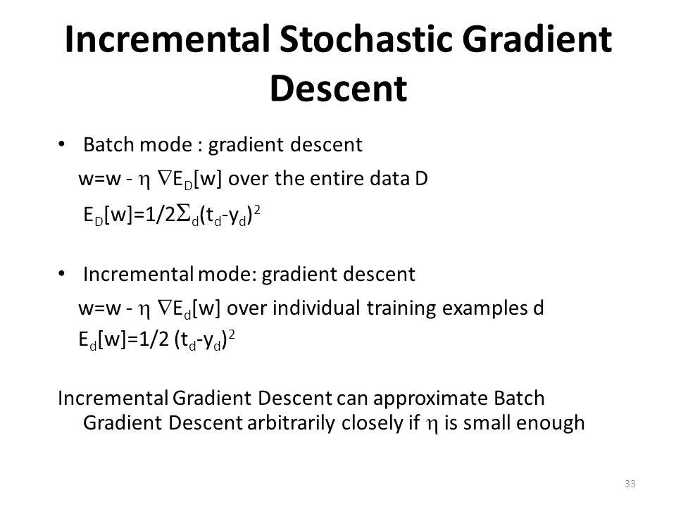 Incremental Stochastic Gradient Descent