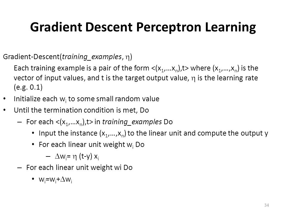 Gradient Descent Perceptron Learning