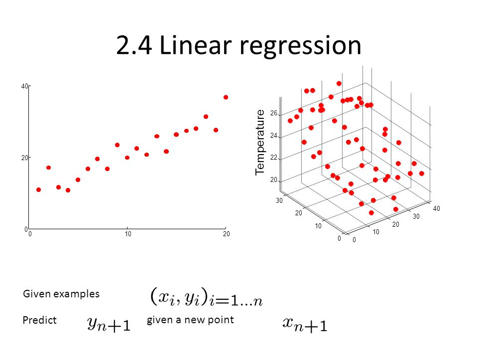 2.4 Linear regression Temperature Given examples Predict
