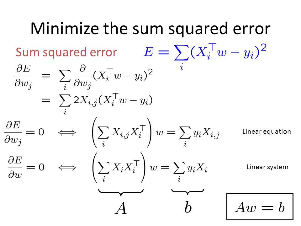 Minimize the sum squared error