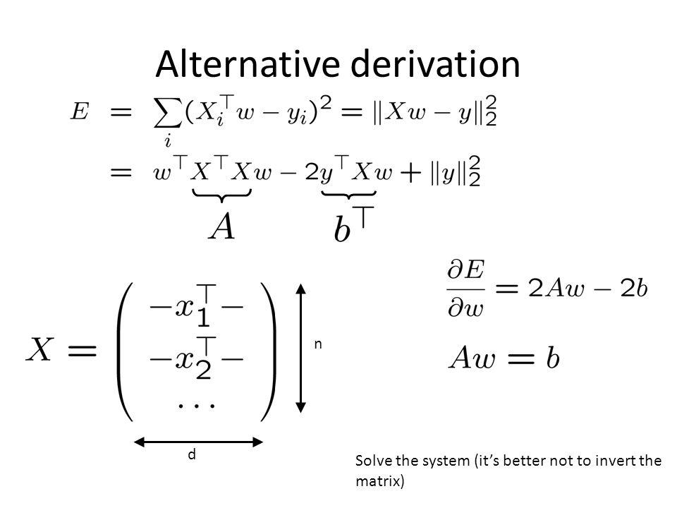Alternative derivation