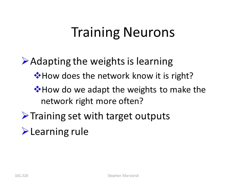 Training Neurons Adapting the weights is learning