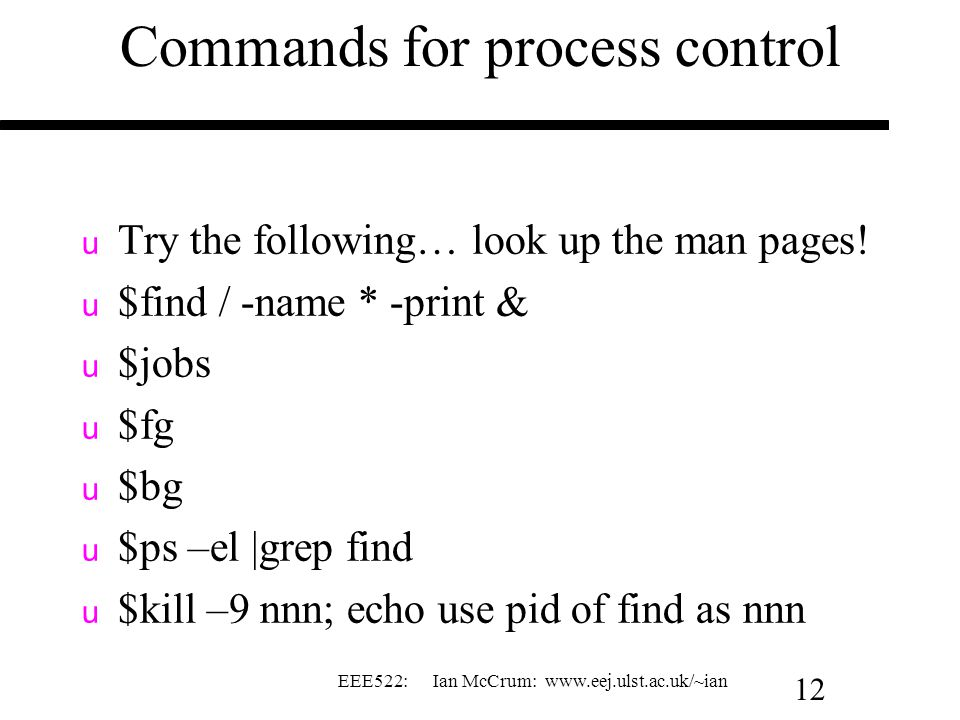 Commands for process control