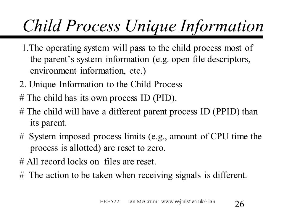 Child Process Unique Information
