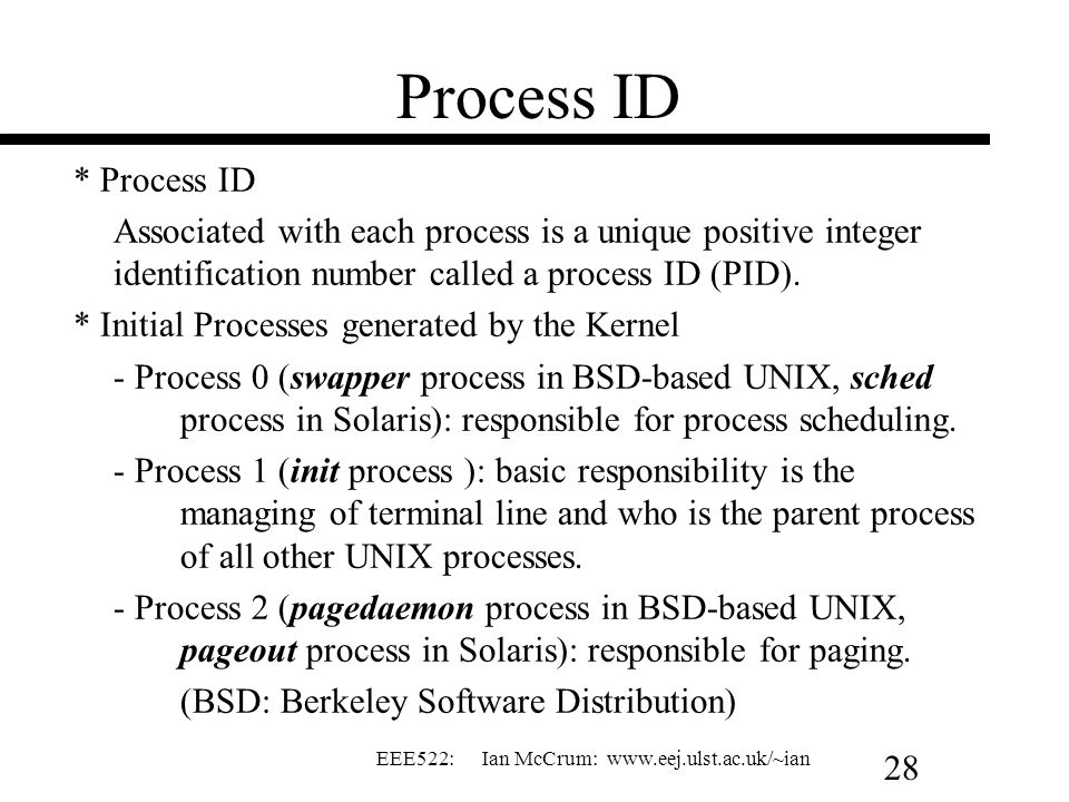 Process ID * Process ID. Associated with each process is a unique positive integer identification number called a process ID (PID).