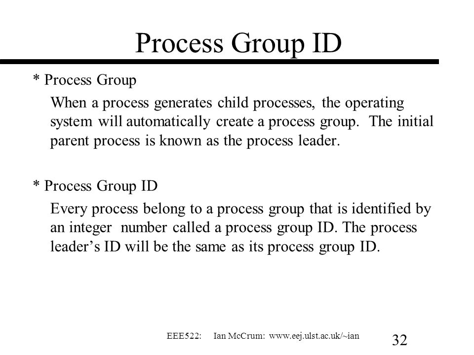 Process Group ID * Process Group