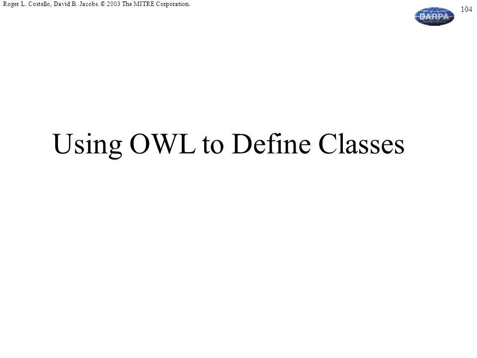 Using OWL to Define Classes