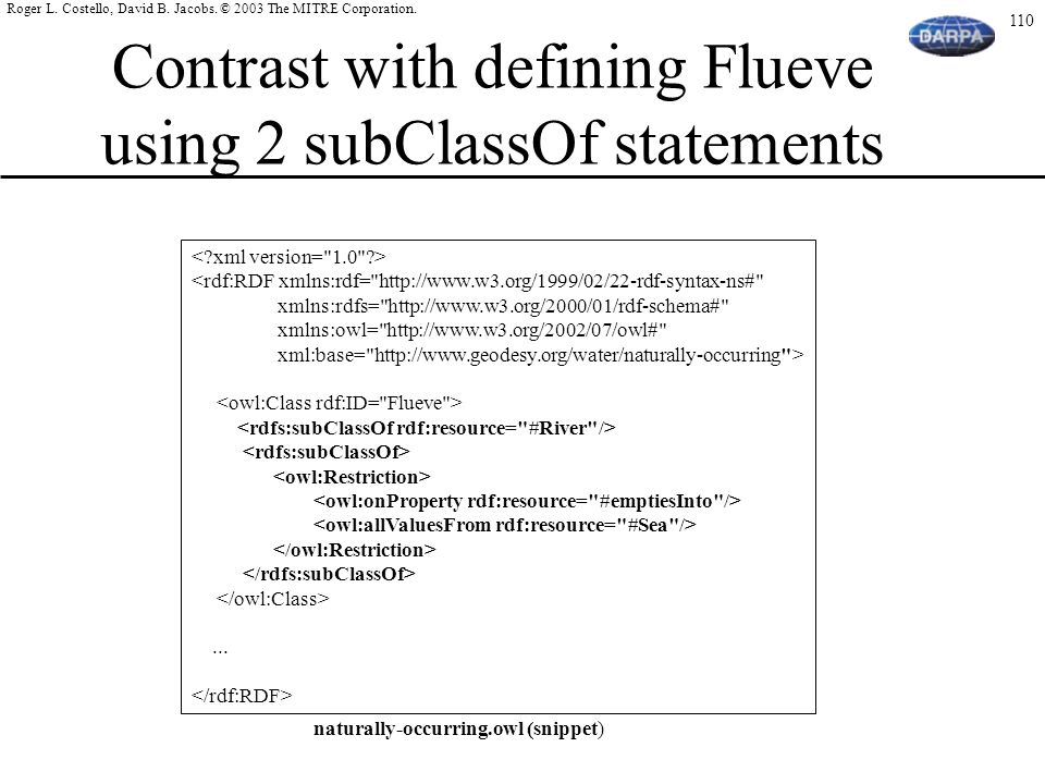 Contrast with defining Flueve using 2 subClassOf statements