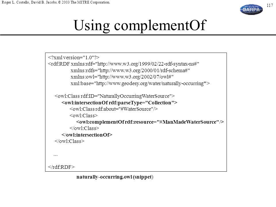 Using complementOf < xml version= 1.0 >