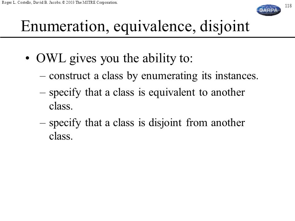 Enumeration, equivalence, disjoint