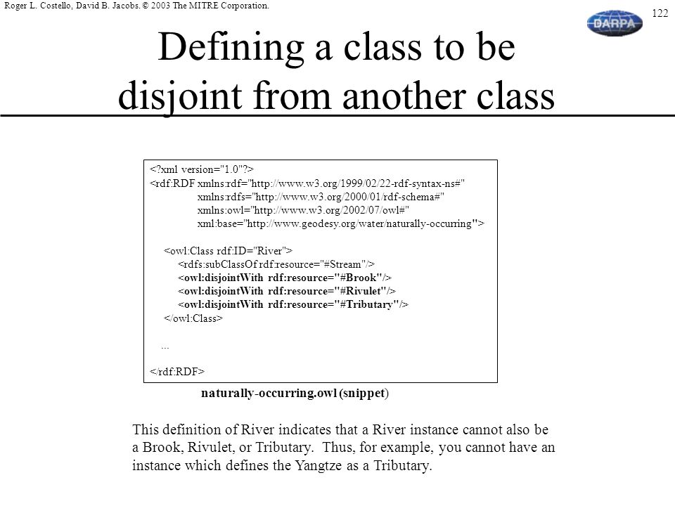 Defining a class to be disjoint from another class